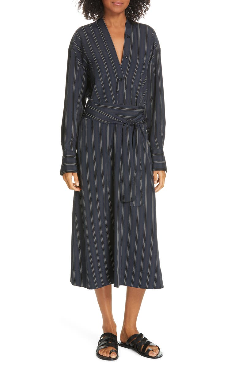 VINCE Stripe Belted Midi Shirtdress, Main, color, 427