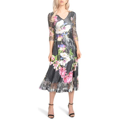Petite Komarov Charmeuse & Chiffon Midi Dress, Black