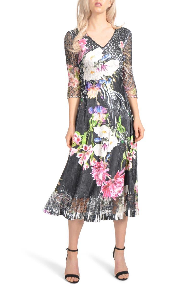 KOMAROV Charmeuse & Chiffon Midi Dress, Main, color, MIDNIGHT TROPIC