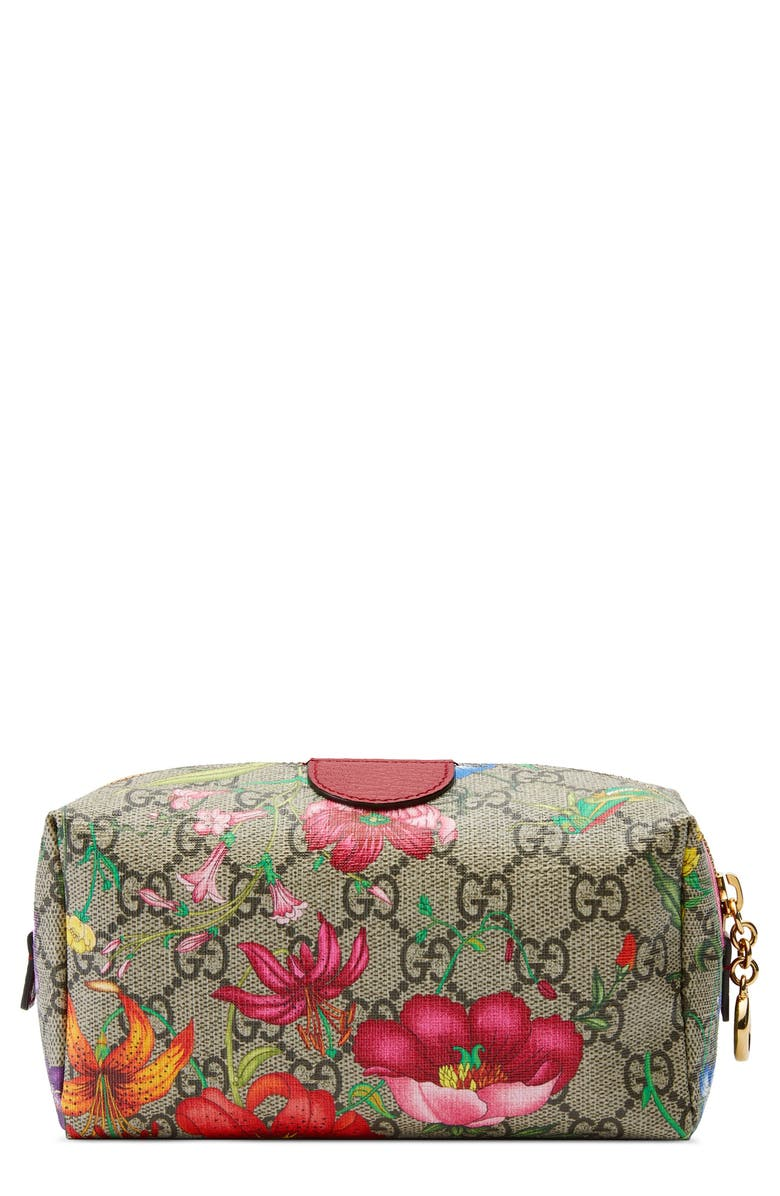 GUCCI Medium Ophidia Floral GG Supreme Canvas Cosmetics Case, Main, color, BEIGE EBONY MULTI/ ROSSO