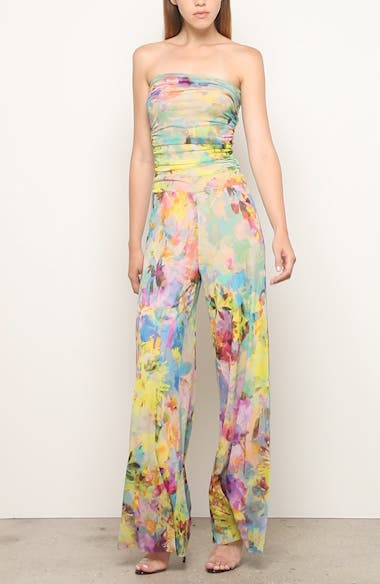 Floral Print Strapless Jumpsuit, video thumbnail