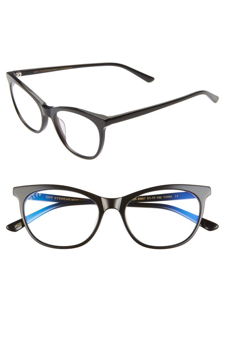 DIFF Jade 51mm Blue Light Blocking Cat Eye Glasses, Main, color, BLACK/ CLEAR