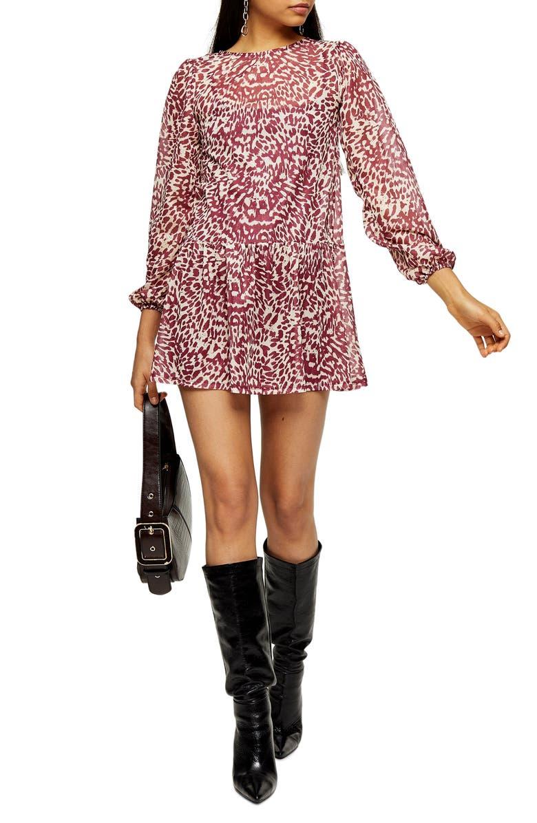 TOPSHOP Animal Print Long Sleeve Minidress, Main, color, PINK MULTI