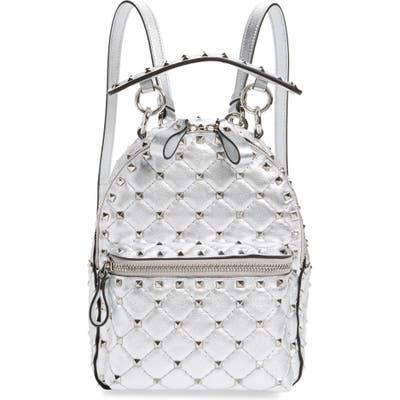 Valentino Garavani Mini Rockstud Metallic Leather Backpack - Metallic