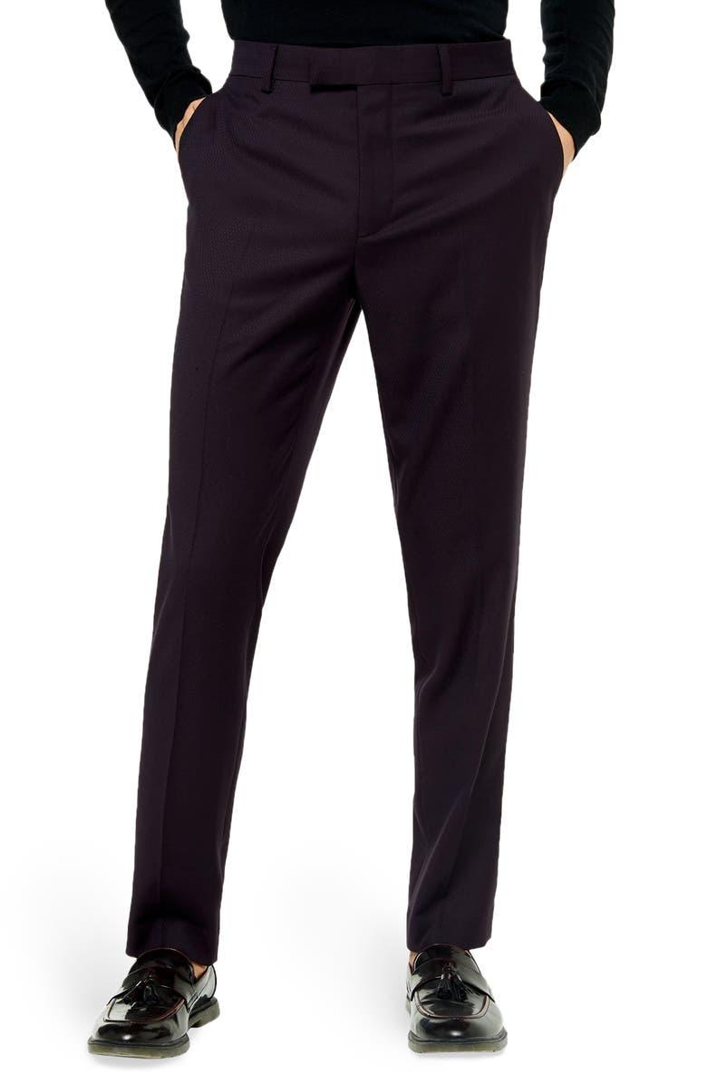 TOPMAN Burg Maverick SB1 Slim Fit Pants, Main, color, BURGUNDY