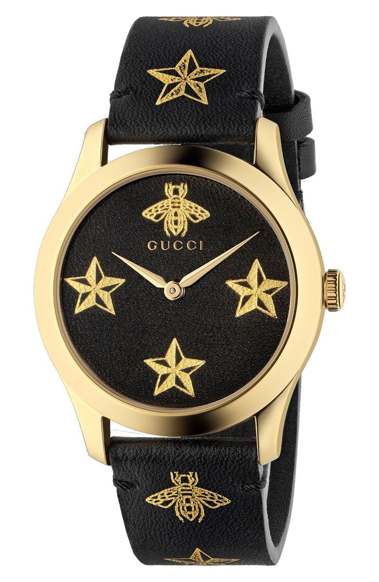 GUCCI G-Timeless Leather Strap Watch, 36mm, Main, color, BLACK/ GOLD