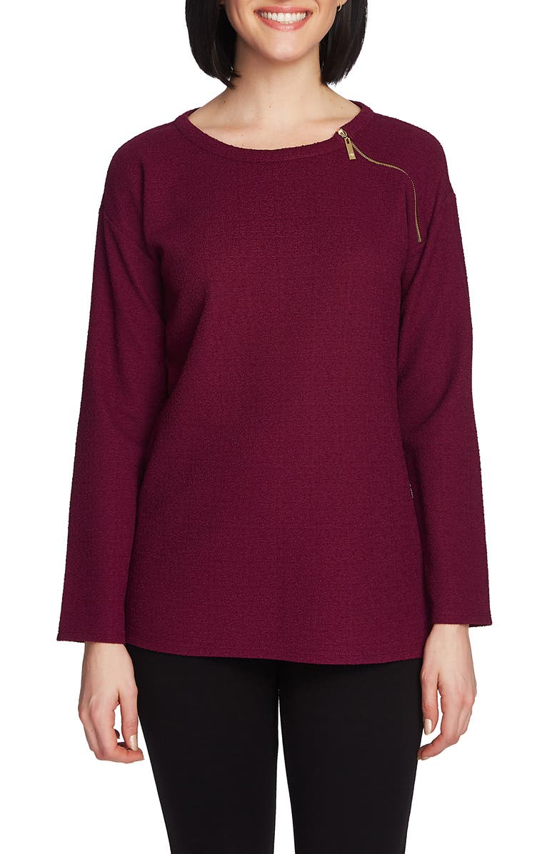 CHAUS Shoulder Zip Pullover, Main, color, PLUM NOIR