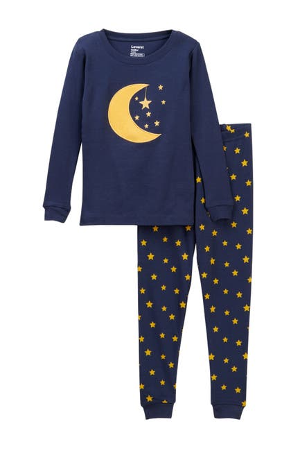 Image of Leveret Two-Piece Pajama Moon Stars