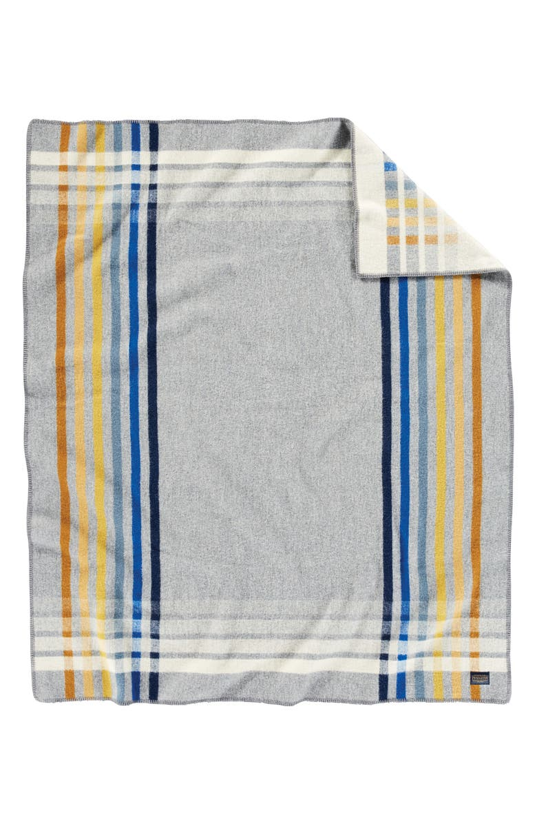 PENDLETON Oslo Evening Stripe Wool & Cotton Throw Blanket, Main, color, OSLO EVENING