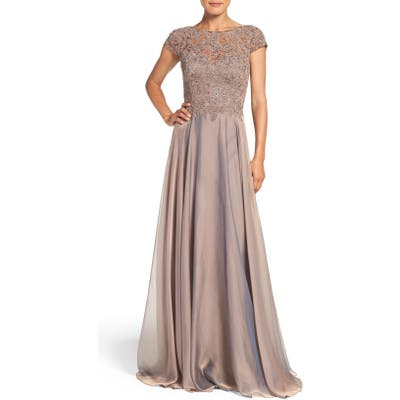 La Femme Embellished Lace & Satin Ballgown, Brown