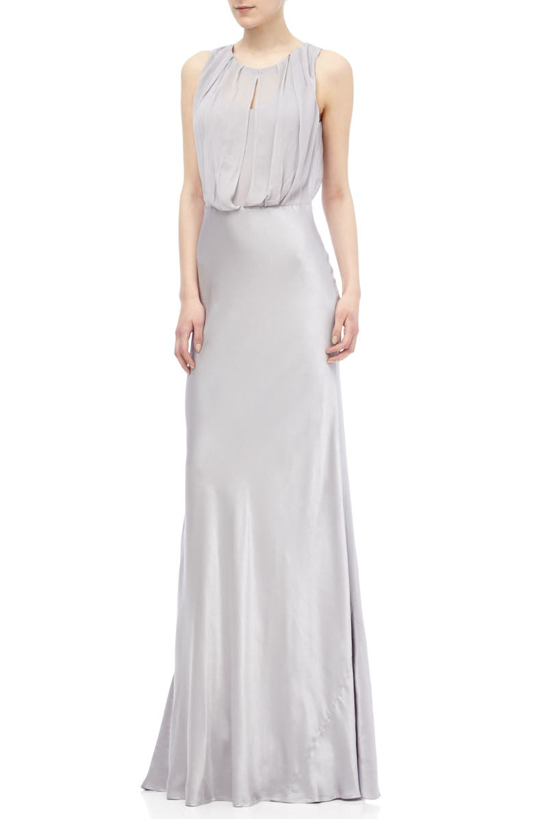 GHOST LONDON Claudia Cowl Back Gown, Main, color, SILVER LAKE