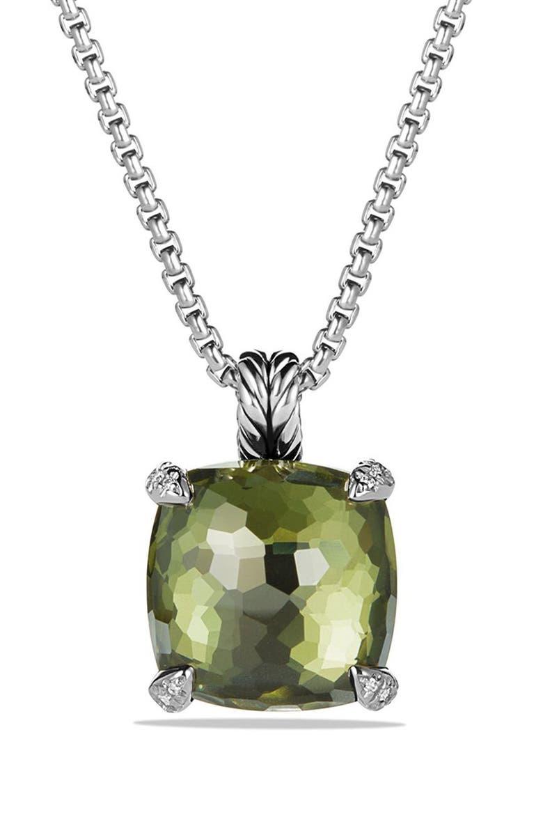 DAVID YURMAN 'Châtelaine' Pendant Necklace with Semiprecious Stone and Diamonds, Main, color, SILVER/ CITRINE/ HEMATINE