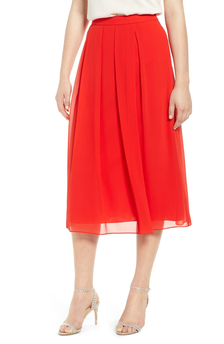 ANNE KLEIN Pleated Midi Skirt, Main, color, POPPY