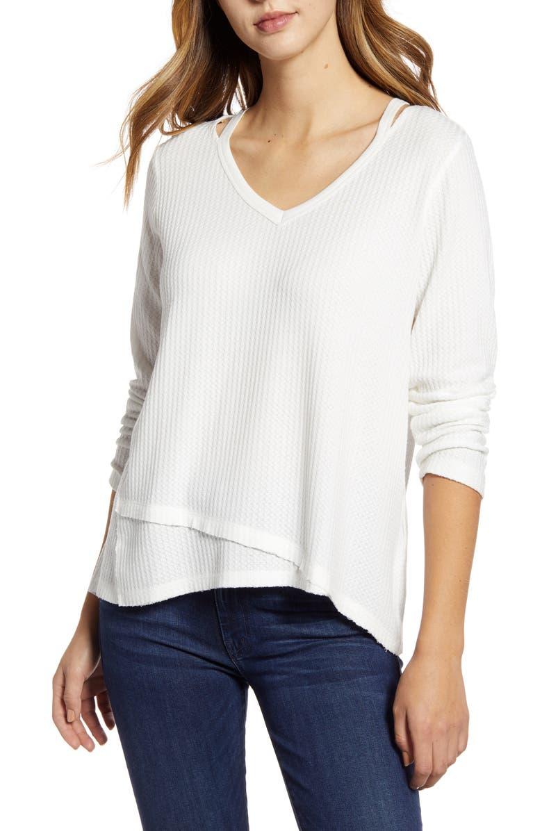 WIT & WISDOM Shoulder Slit Thermal Knit Top, Main, color, OFF WHITE