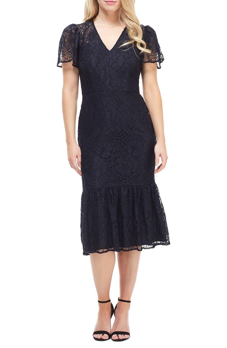 MAGGY LONDON Lace Ruffle Hem Dress, Main, color, NAVY