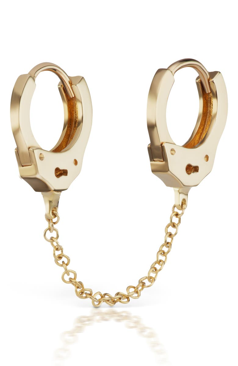 MARIA TASH 6.5mm Medium Chain Handcuff Clickers, Main, color, YELLOW GOLD