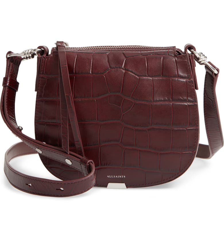 ALLSAINTS Small Polly Round Croc Embossed Calfskin Crossbody Bag, Main, color, BORDEAUX