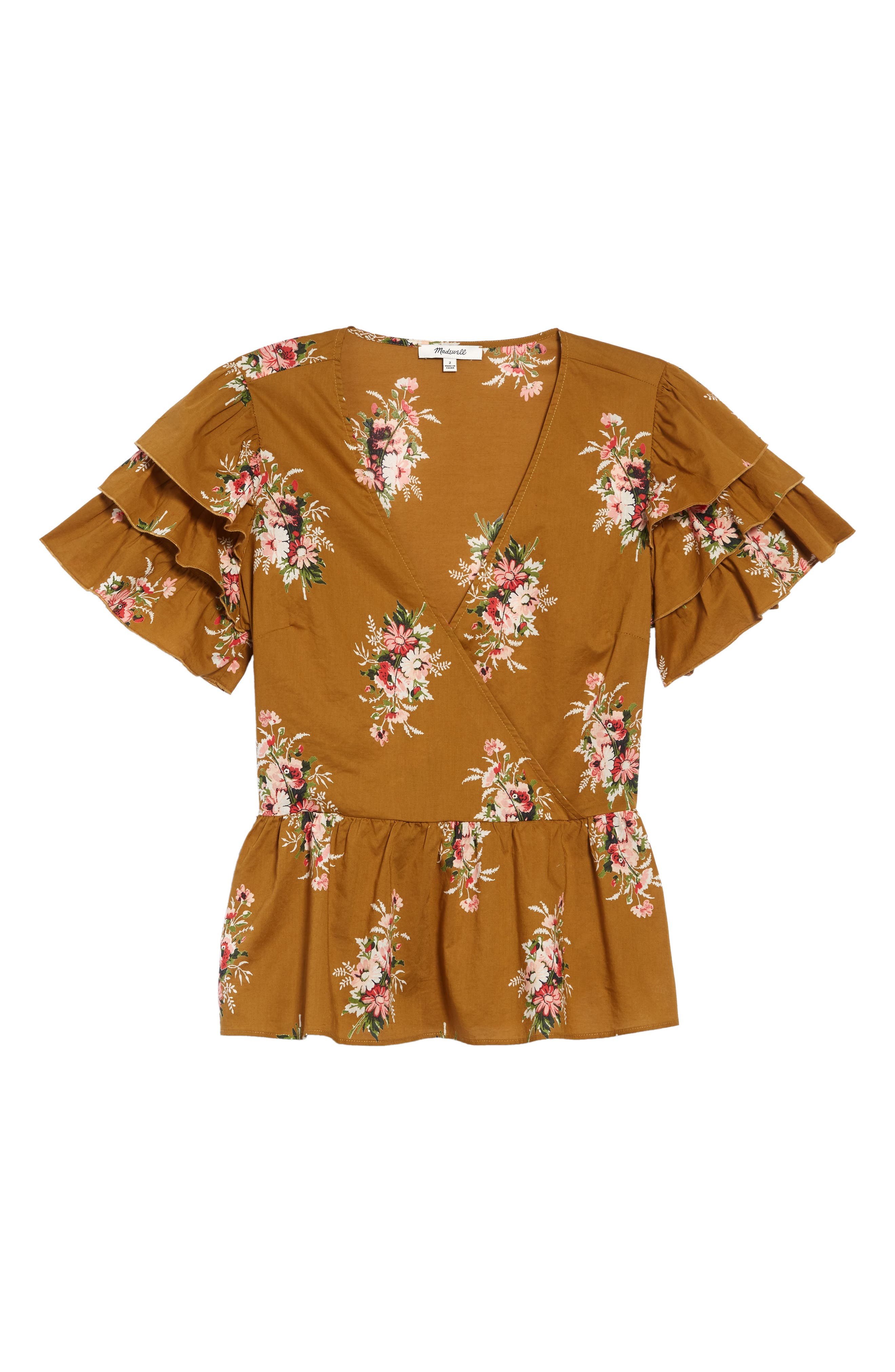 Classic Corsage Tiered Sleeve Peplum Top, Main, color, NOSEGAY FLORAL DISTANT OLIVE