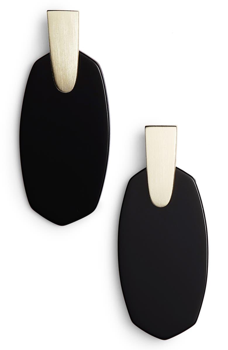 KENDRA SCOTT Aragon Drop Earrings, Main, color, BLACK/ GOLD