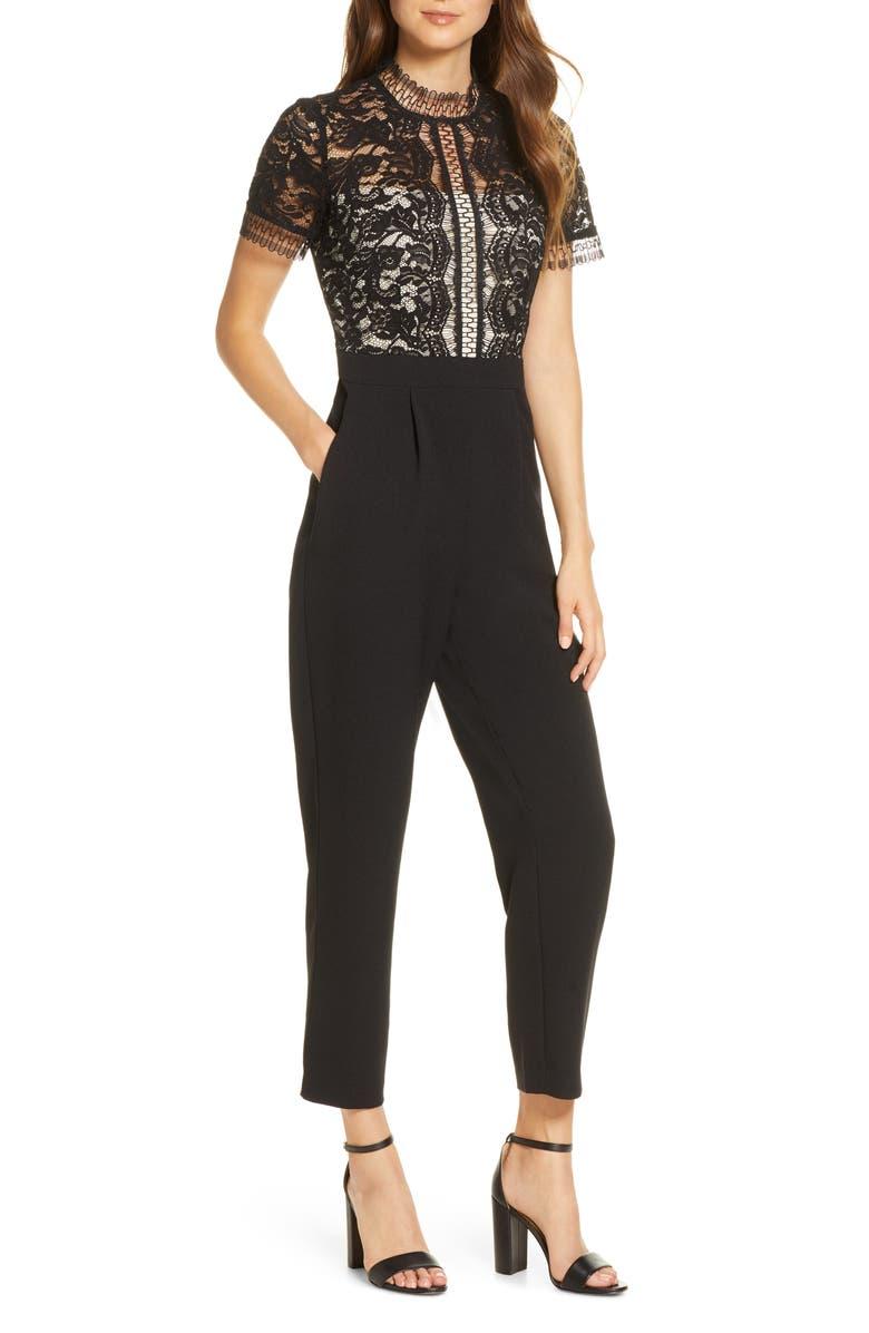 ELIZA J Lace Bodice Jumpsuit, Main, color, BLACK