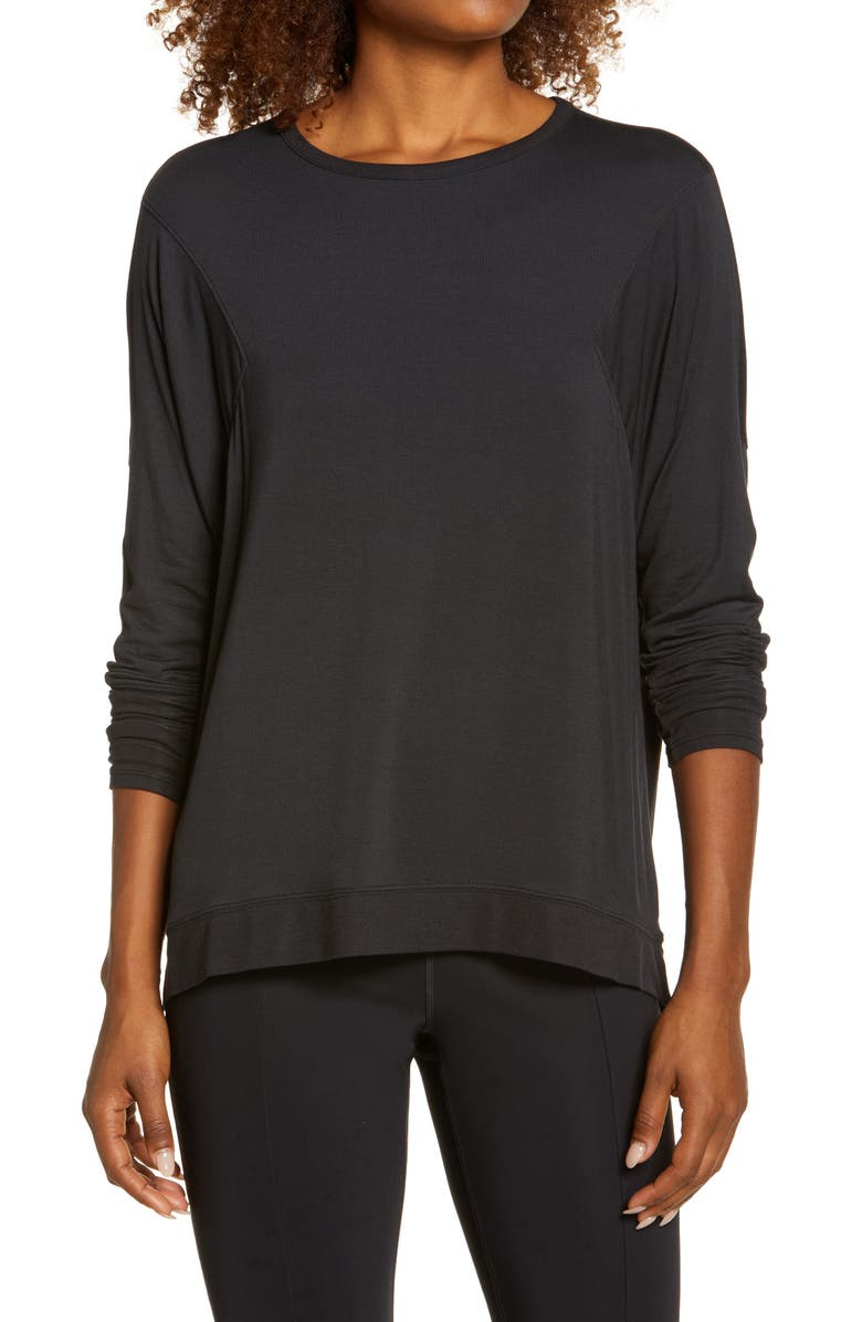 ZELLA Peaceful Relaxed Pullover, Main, color, BLACK