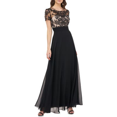 Js Collections Embroidered Illusion Bodice Gown, Black