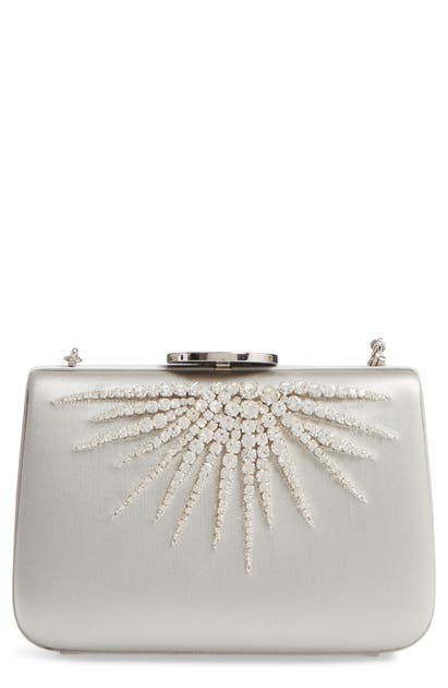 Giambattista Valli Starburst Box Clutch In Silver/ Nickel