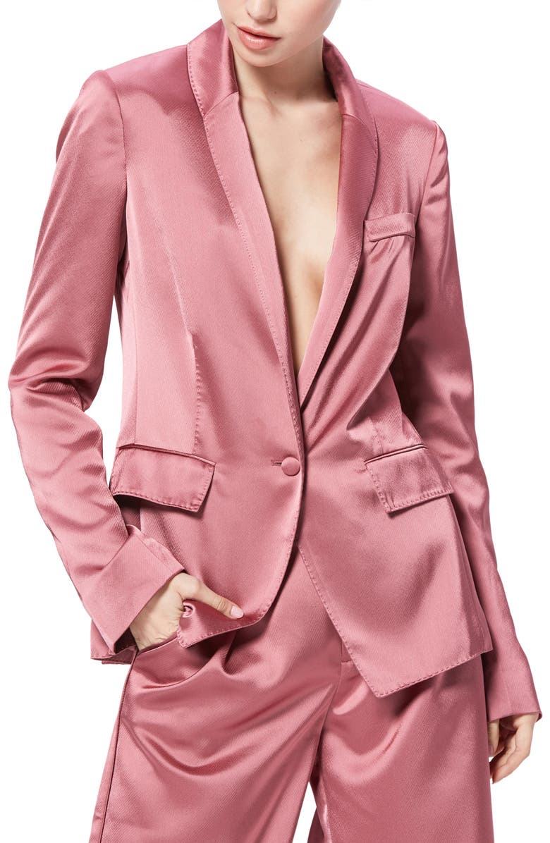 PAIGE Samille Satin Jacket, Main, color, DECO ROSE