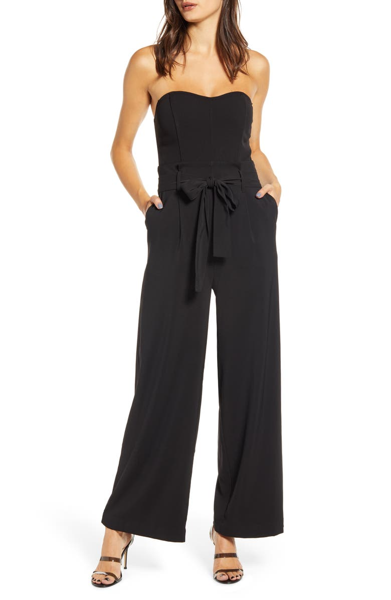J O A Strapless Wide Leg Jumpsuit