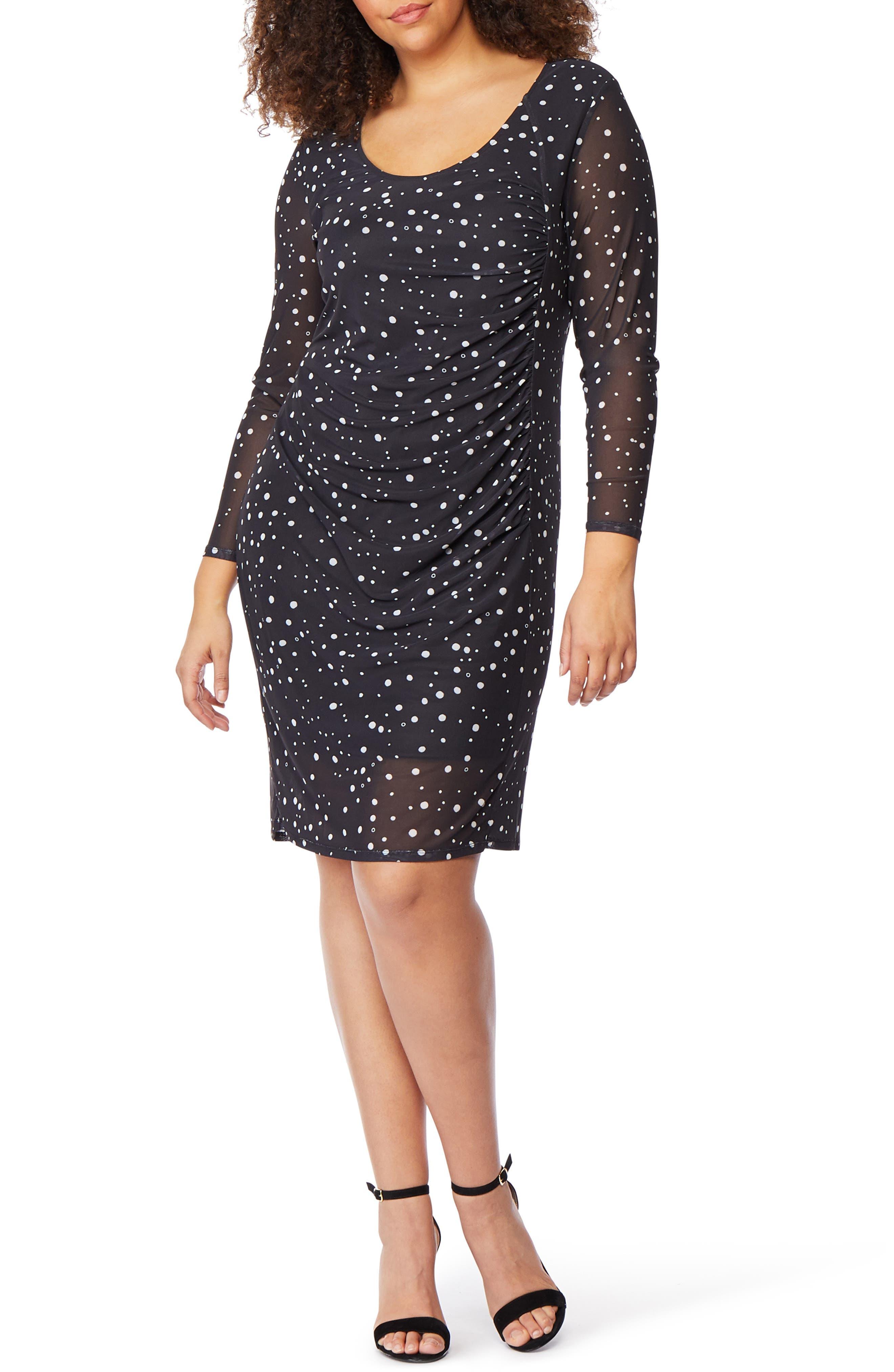 Print Ruched Stretch Mesh Sheath Dress, Main, color, GALAXY DOT