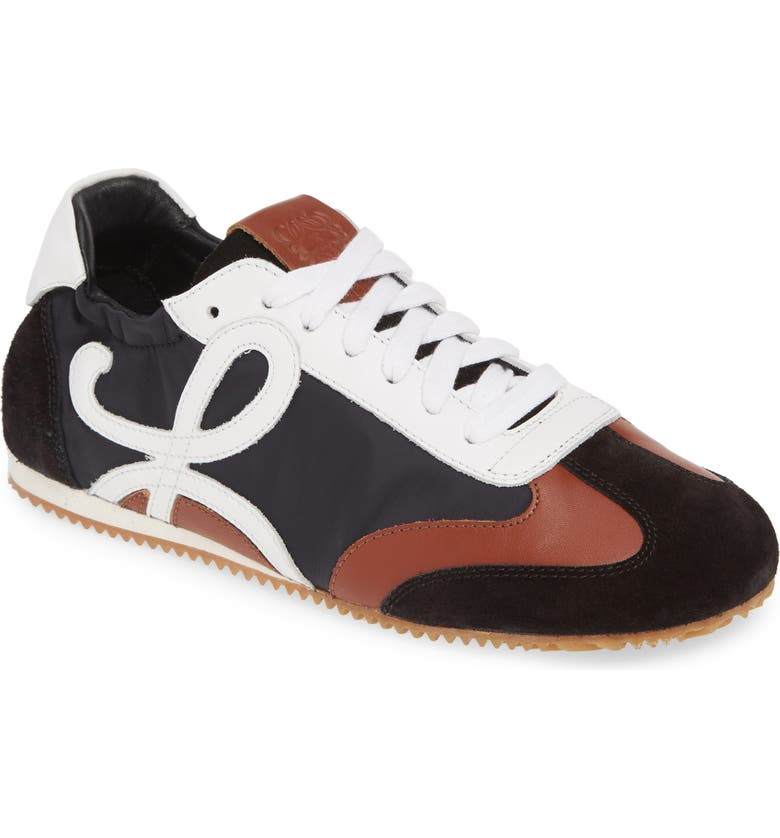 LOEWE Scrunch Lace-Up Sneaker, Main, color, BLACK/ WHITE/ BROWN