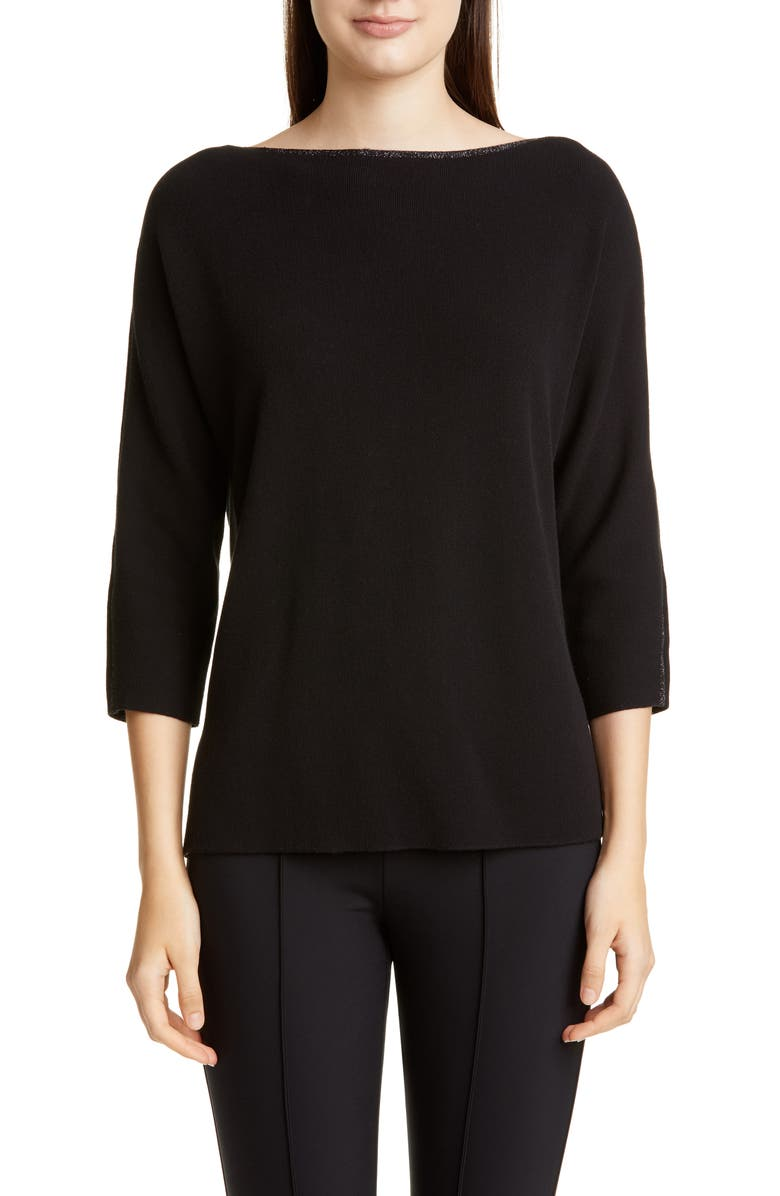 LAFAYETTE 148 NEW YORK Glitter Trim Dolman Sweater, Main, color, BLACK