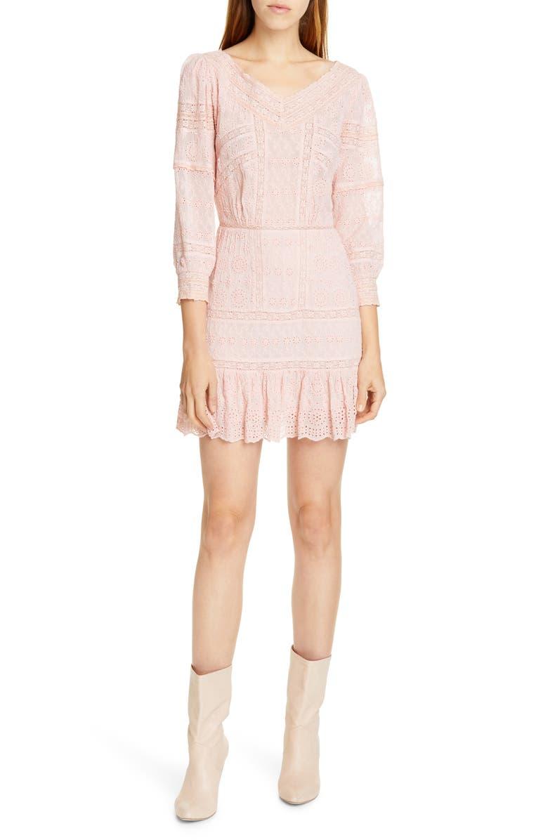LOVESHACKFANCY Cheri Eyelet Lace Dress, Main, color, MELROSE