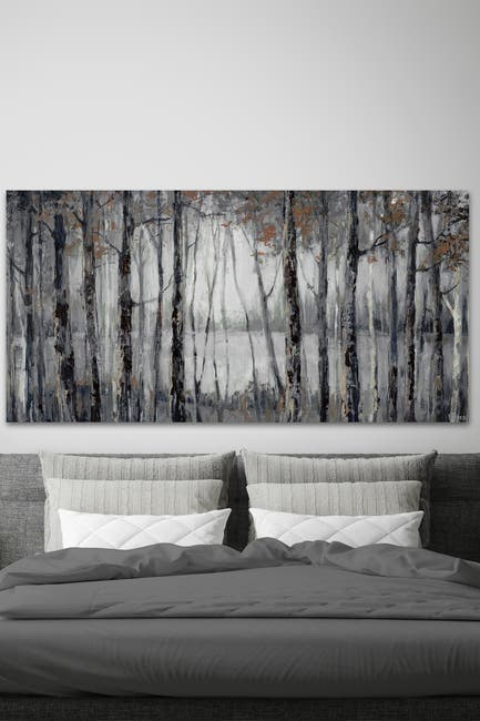 "Image of Marmont Hill Inc. Dusky Autumn Lake Painting Print on Wrapped Canvas - 12"" x 24"""