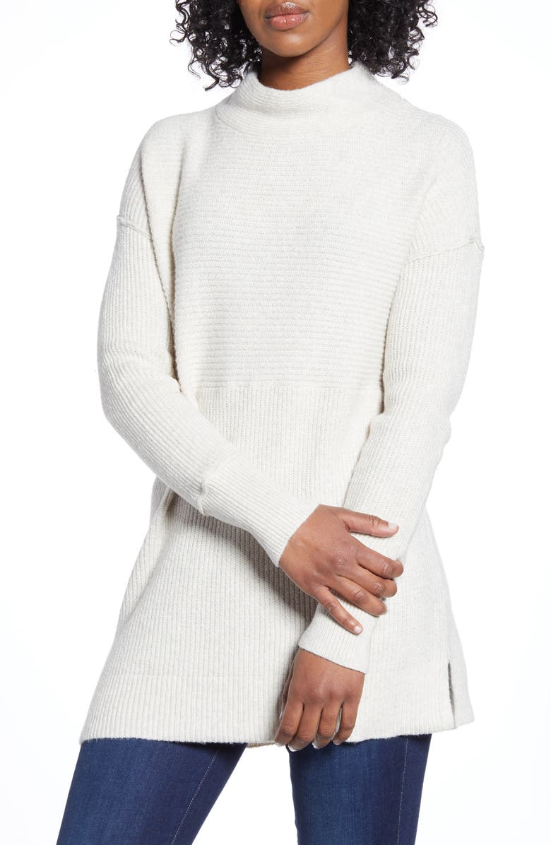 CASLON<SUP>®</SUP> Ribbed Tunic Sweater, Main, color, HEATHER OATMEAL