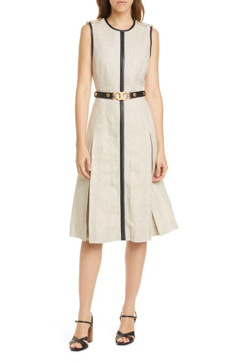 TORY BURCH Leather Trim Linen Midi Dress, Main, color, 900