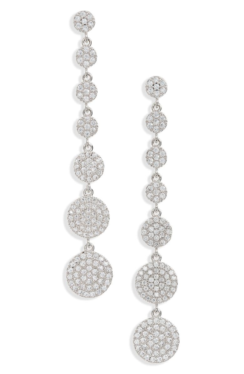 NORDSTROM Graduated Pavé Disc Linear Drop Earrings, Main, color, 040