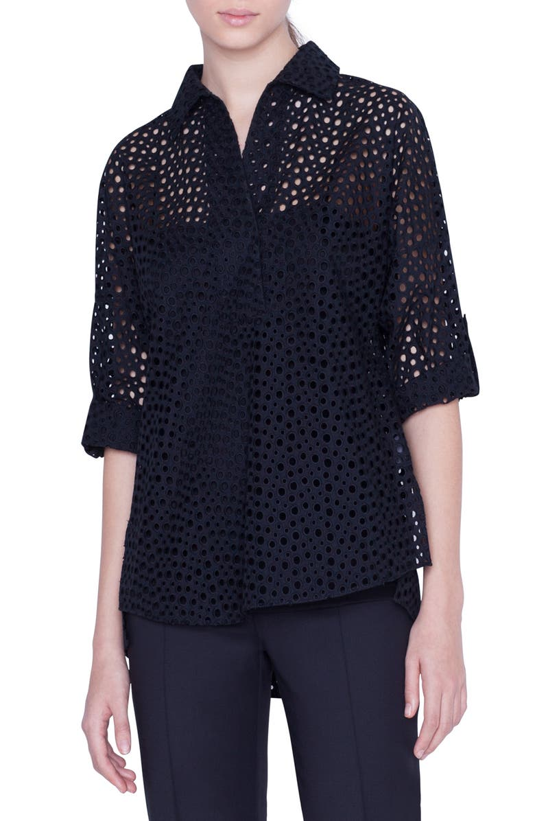 AKRIS PUNTO Sheer Broderie Anglaise Blouse, Main, color, BLACK