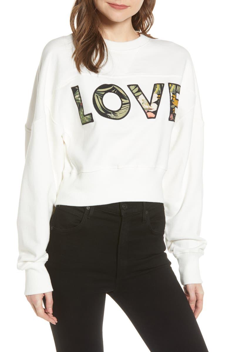 REBECCA MINKOFF Ruby Tropical Love Cotton Sweatshirt, Main, color, ECRU