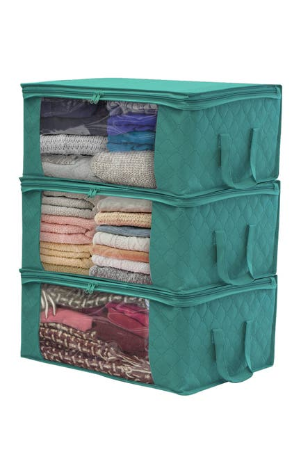 Image of Sorbus Foldable  Large Clear Window & Carry Handles Storage Bag Organizer - Pack of 3 - Teal