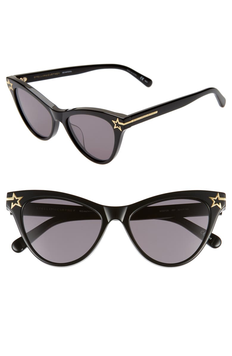 STELLA MCCARTNEY 52mm Cat Eye Sunglasses, Main, color, BLACK/ GREY