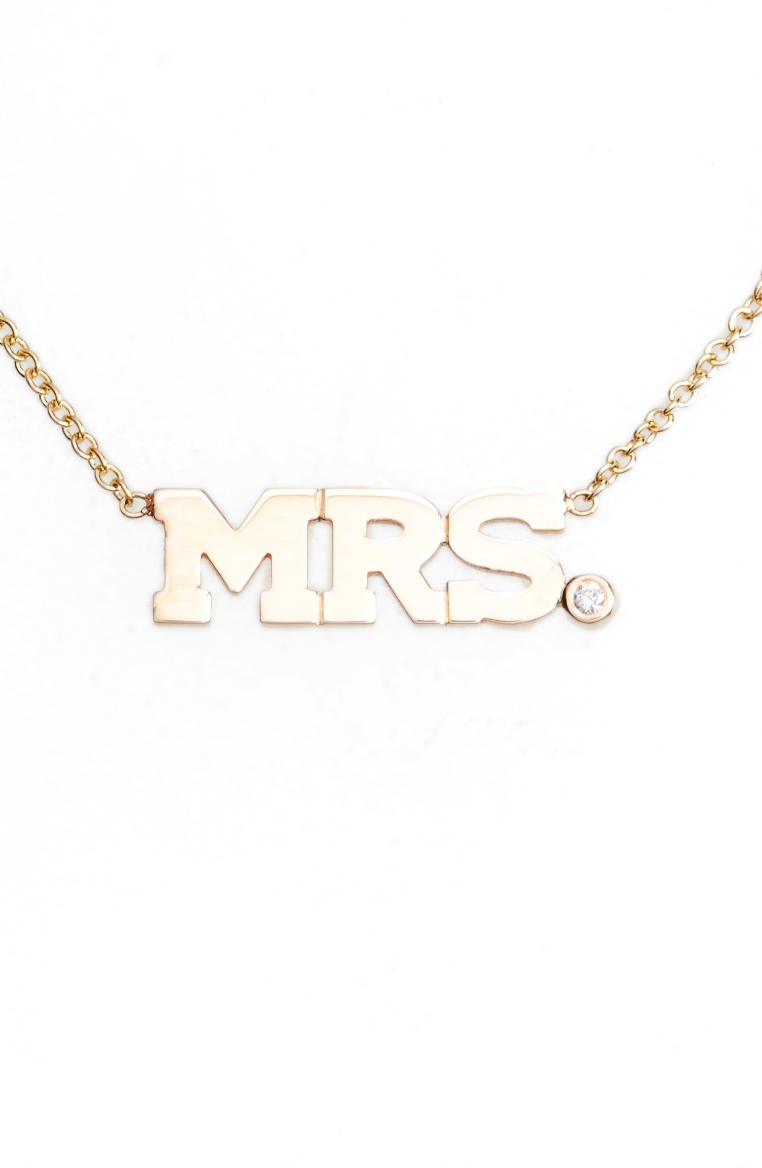 Zoe Chicco Diamond Mrs. Pendant Necklace