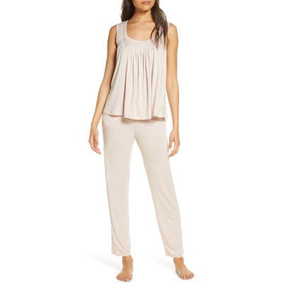 Papinelle Flutter Pleat Stretch Modal Pajamas, Pink