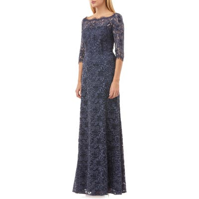 Js Collections Lace Column Gown, Blue