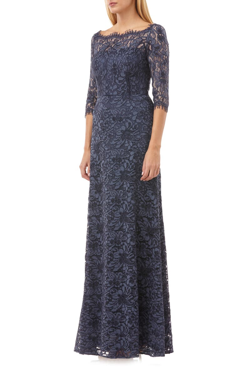 JS COLLECTIONS Bateau Neck Lace Gown, Main, color, MINERAL BLUE