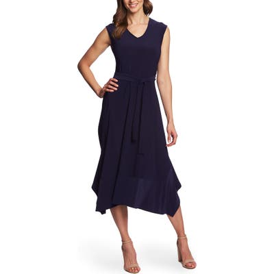 Chaus Tie Waist Handkerchief Hem Midi Dress, Blue