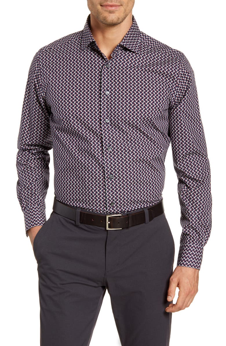 EMANUEL BERG Modern Fit Floral Button-Up Shirt, Main, color, NAVY