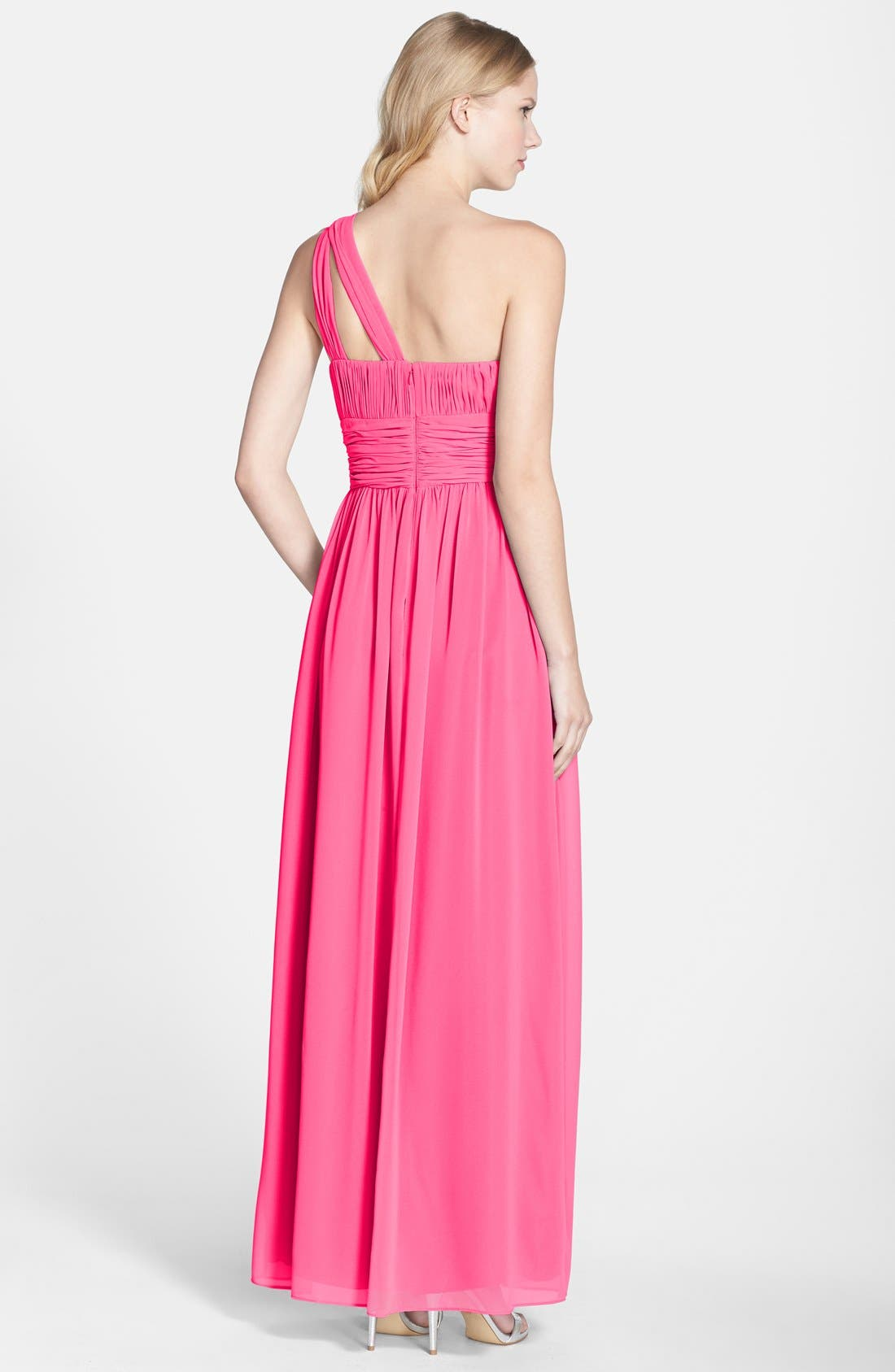 ,                             'Rachel' Ruched One-Shoulder Chiffon Gown,                             Alternate thumbnail 113, color,                             653
