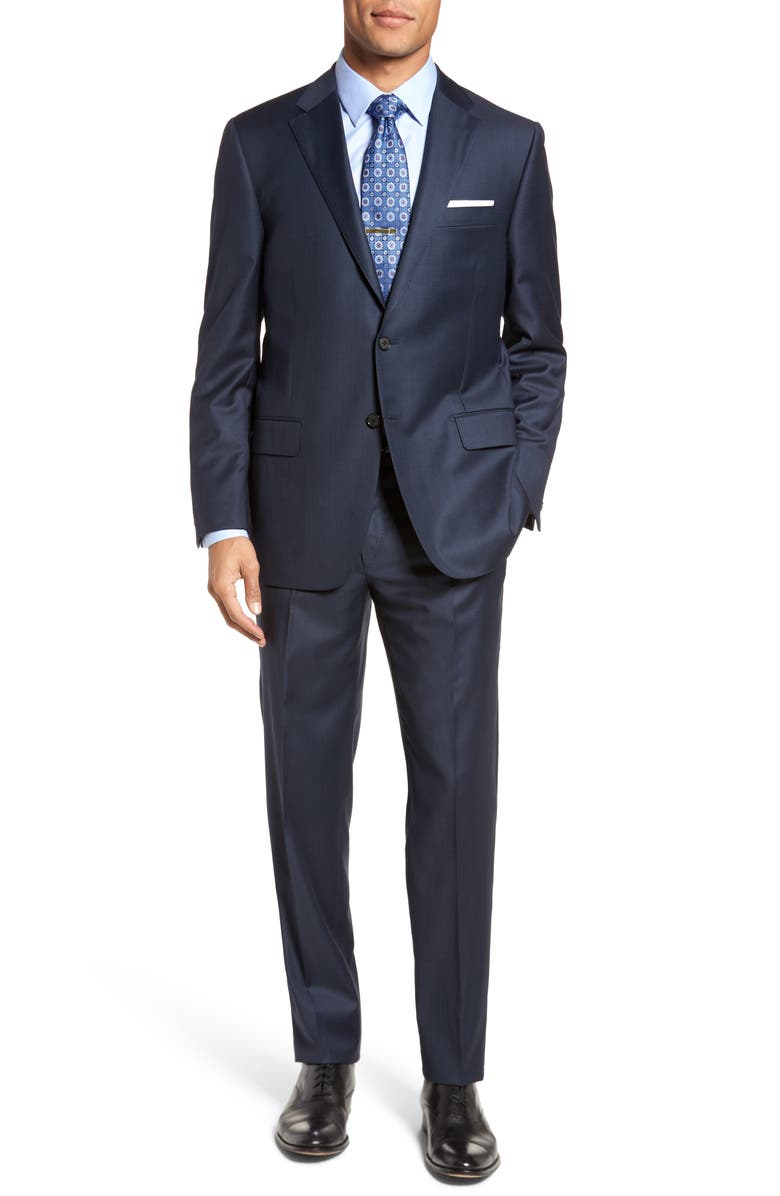 HICKEY FREEMAN Classic B Fit Solid Loro Piana Wool Suit, Main, color, NAVY SHARKSKIN