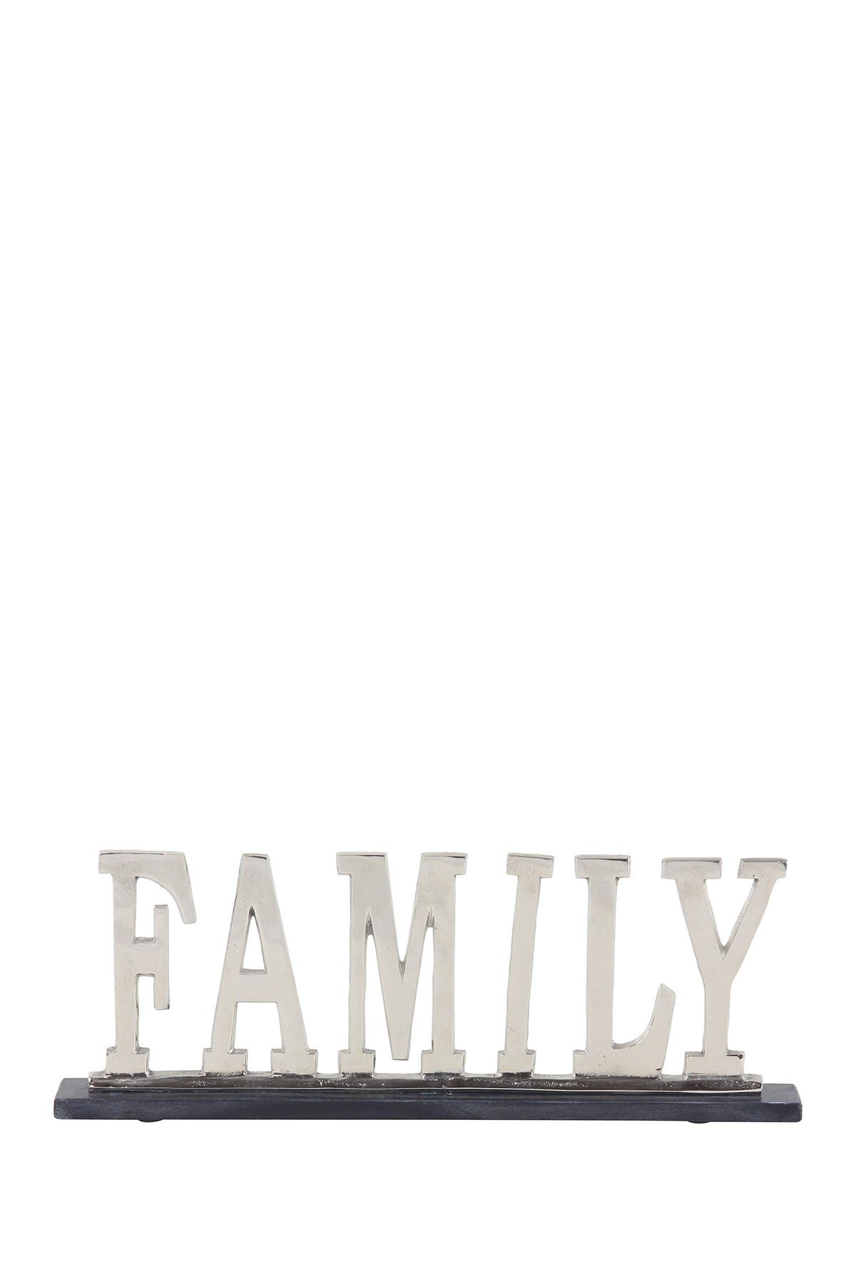Image of Willow Row Modern Silver Aluminum & Marble Family Sign Decor